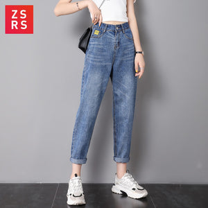 Zsrs jeans woman mom jeans pants boyfriend jeans for women with high waist push up large size ladies