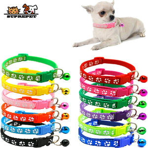 SUPREPET Pet Dog Cat Collar Adjustable Buckles With Bell Cat Collar Pet Supplies Accessories for