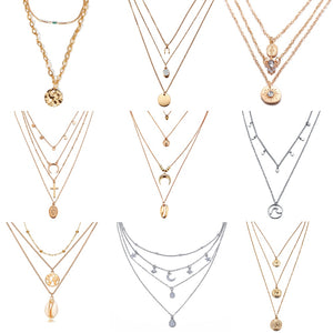 New Multilayer Crystal Moon Necklaces & Pendants For Women Vintage Charm Gold Choker Necklace 2019