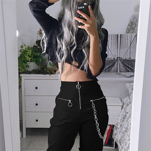 Gothic harajuku zipper streetwear women casual harem pants with chain solid black pant cool