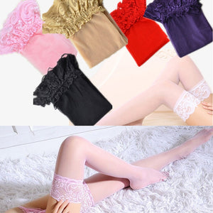 7 Colors Women's Sexy Stocking Sheer Lace Top Thigh High Stockings Nets Pantyhose For Women Female