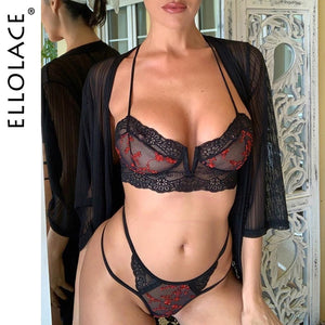 Ellolace Sexy Fashion Lace Underwear Set Women Embroidery Transaprent Bra Brief Sets 2019 Mesh