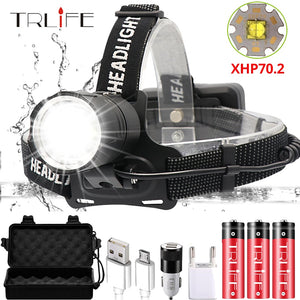 Super Bright XHP70.2 USB Rechargeable Led Headlamp XHP70 Most Powerfull Headlight Fishing Camping
