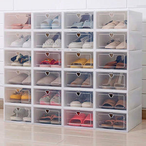 6PCS Flip Shoes Box Thickened Transparent Drawer Case Plastic Shoe Boxes Stackable Box Shoe