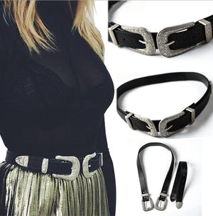 Local stock Women Ladies Vintage Retro Boho Leather Belt Double Metal Buckle Waist Belt Waistband