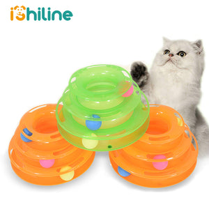 Three Levels pet cat toy Tower Tracks Disc cat Intelligence Amusement triple disc cat toys ball
