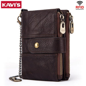 KAVIS 100% Genuine Leather Rfid Wallet Men Crazy Horse Wallets Coin Purse Short Male Money Bag