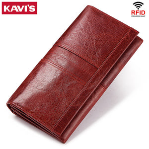 KAVIS Genuine Leather Women Clutch Wallet and Female Coin Purse Portomonee Clamp For Phone Bag