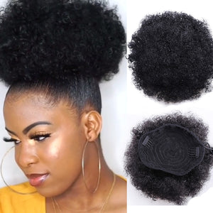 8inch Short Afro Puff Synthetic Hair Bun Chignon Hairpiece For Women Drawstring Ponytail Kinky Curly