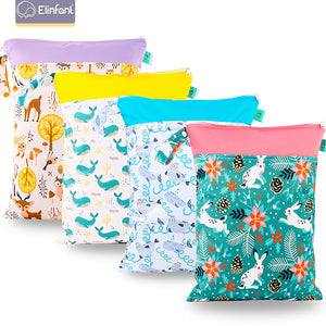 Elinfant 1PC Reusable Waterproof Fashion Prints Wet Dry Diaper Bag Double Pocket Cloth Handle
