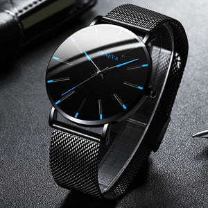 2020 Minimalist Men's Fashion Ultra Thin Watches Simple Men Business Stainless Steel Mesh Belt