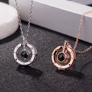 2018 New Arrival Rose Gold&Silver 100 languages I love you Projection Pendant Necklace Romantic Love