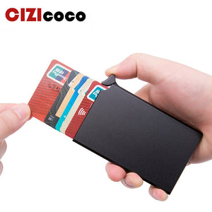 RFID Anti-theft Smart Wallet Thin ID Card Holder Unisex Automatically Solid Metal Bank Credit Card