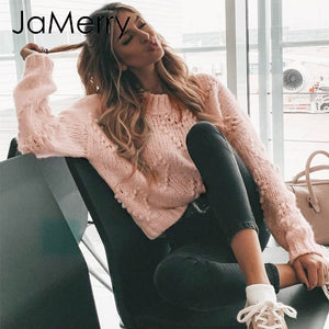 JaMerry Vintage pink hairball autumn winter sweaters ladies Long sleeve casual pullover 2019 Fashion