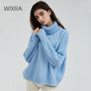 Wixra Women Turtleneck Chunky Oversized Sweater Full Sleeve Women Knit Sweaters Solid Pullover And