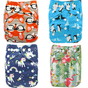 Ohbabyka Baby Cloth Diapers Reusable Nappies Character Unisex Baby Care Pants Waterproof Pocket