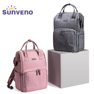 Sunveno Fashion Diaper Bag Backpack Quilted Large Mum Maternity Nursing Bag Travel Backpack Stroller