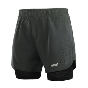 "Quick Dry Mens Sports 3"" Running Shorts Active Training Exercise Jogging 2 IN 1 Shorts With Longer"