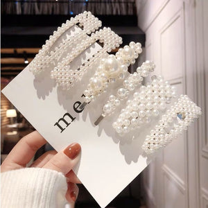 Handmade 2PCS Simulated Pearl Barrettes Hair Clip Silver Gold Big Comb Bobby Pins Hair Accessories