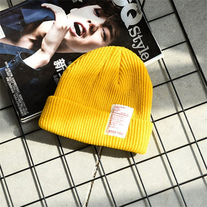 Womens Winter Slouchy Beanie Hats Warm Fleece Printed Label Cuffed Cap Korean Version Of The Set