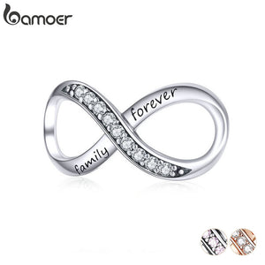 BAMOER Big Charms Real Sterling Silver 925 Infinity Family Forever Clear Crystal Charm for