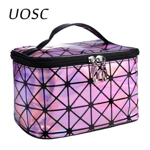 UOSC Multifunctional Cosmetic Bag Women Leather Travel Make Up Necessaries Organizer Zipper Makeup