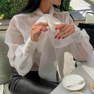 Women Mesh Sheer Blouse See-through Long Sleeve Top Shirt Blouse Fashion Lace-up Bowknot Transparent White Shirt Female Blusas