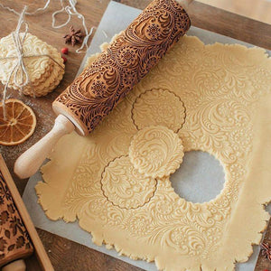 35*5cm Christmas Embossing Rolling Pin Baking Cookies Biscuit Fondant Cake Dough Engraved Wooden