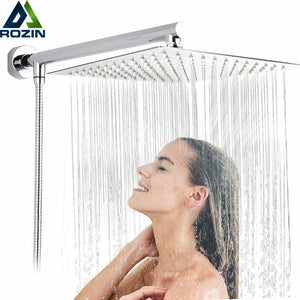 "Bright Chrome 8"" Ultrathin Shower Head + Brass 15"" Shower Arm + 59"" Stainless Steel Hose Wall"