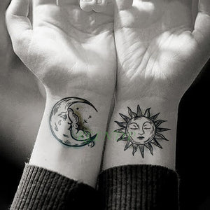 Waterproof Temporary Tattoo Sticker Sun Moon Fake Tatto Flash Tatoo Tatouage hand foot arm For Men