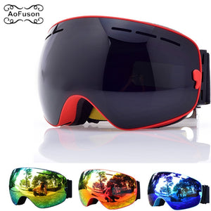 Ski Goggles, Snowboard Glasses Double Layers Anti-fog UV400 Lens Big Mask Men Women Winter Snow Snowmobile Gafas Skiing Eyewear
