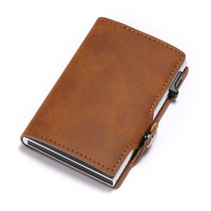 BISI GORO Single Box Card Holder PU Leather Card Wallet New Men RFID Blocking Aluminum Smart