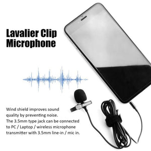 Portable External 3.5mm Lavalier Microphone Hands-free Mini Wired Clip-on Lapel Lavalier