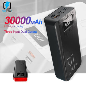 Power Bank 30000mAh TypeC Micro USB QC Fast Charging Powerbank LED Display Portable External Battery