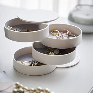 Women Jewelry Storage Box New Design Fashion 4-Layer Rotatable Jewelry Accessory Storage Tray with