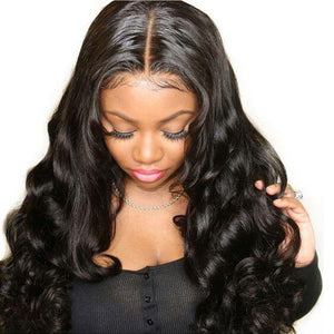 Body Wave 4*4 Lace Closure Wigs Middle Part Human Hair Wigs Pre Plucked With Baby Hair Remy