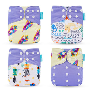 Happyflute HOt Sale OS Pocket Diaper 4pcs/set Washable &Reusable Baby Nappy New Print Adjustable