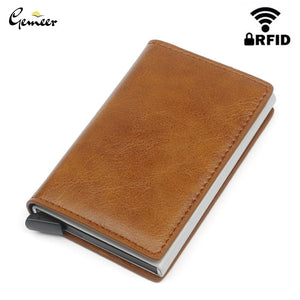 Gemeer Men Credit Card Holder Wallet RFID Anti-Theft Automatic Wallet Card Case Leather Male Purse