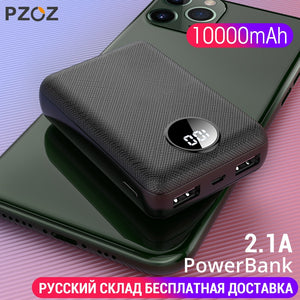 PZOZ Power Bank 10000mAh Dual USB Mobile Phone External Battery Fast Charge For iphone xiaomi mi