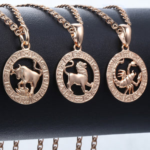 Trendsmax 12 Zodiac Sign Constellations Pendants Necklaces For Women Men 585 Rose Gold Male