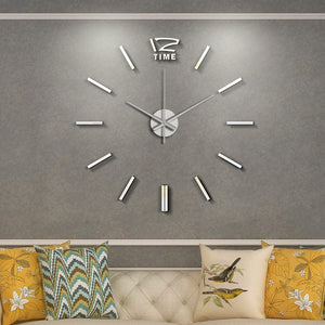 50cm 3D Wall Clock Modern Design DIY Acrylic Mirror Stickers Clock for Living Room Bedroom Home