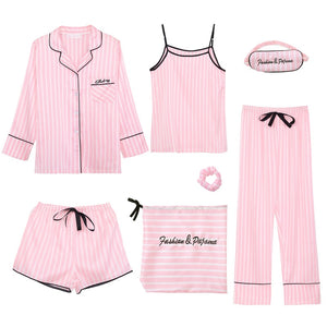 JULY'S SONG Pink Women's 7 Pieces Pajamas Sets Emulation Silk Striped Pyjama Women Sleepwear Sets