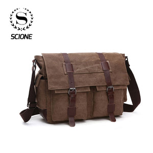 Scione Men Business Messenger Bags For Men Shoulder Bag Canvas Crossbody Pack Retro Casual Office