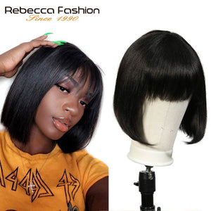 Rebecca Mix Color Short Cut Straight Hair Wig Peruvian Remy Human Hair Wigs For Black Women Brown