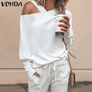 VONDA Women Sweater Knitwear Tops Autumn Long Sleeve Blouse Sexy Off Shoulder Knitted Pullover
