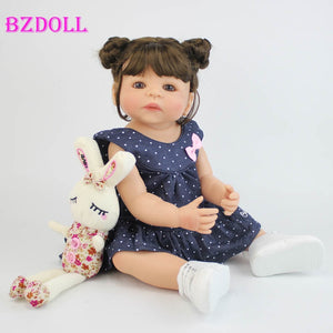 55cm Full Silicone Vinyl Body Reborn Girl Lifelike Baby Doll Newborn Princess Toddler Toy Bonecas Waterproof Birthday Gift