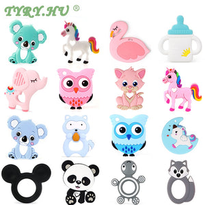 TYRY.HU Baby Silicone Teethers BPA Free Teething Toy Animal Dog Koala Owl Elephant Baby Ring Teether