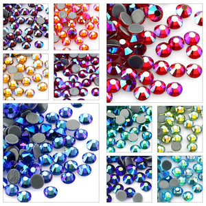SS6-SS30 Multi-color Crystal AB Hot Fix Rhinestone Crystal Super Glitter Strass Iron On
