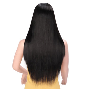 I's a wig Long Straight Synthetic Wig Mixed Brown and Blonde Long Wigs for White /Black Women Middle