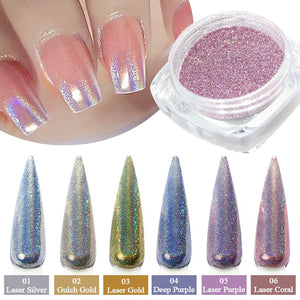 1g/bottle Holographic Glitter Nail Art Pigment Powder Shining Laser Dipping Spangles Chrome Mirror